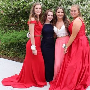 red off the shoulder two piece long prom dress